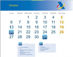 Calendario del contribuyente: octubre 2014