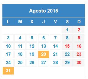 Calendario fiscal agosto 2015