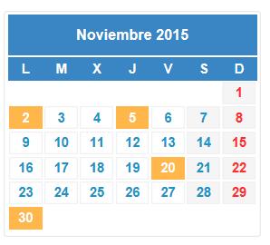 Calendario fiscal en noviembre 2015