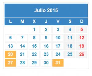 Calendario fiscal Julio, el trimestre