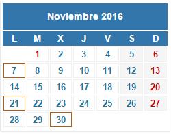 2016 Calendario fiscal noviembre