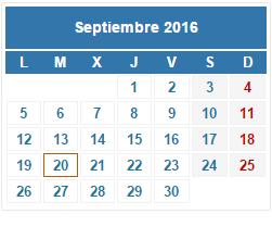 2016 Calendario fiscal Septiembre