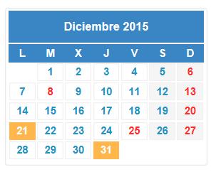 Calendario fiscal diciembre 2015