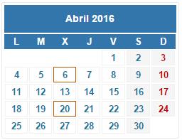 2016 Calendario fiscal Abril