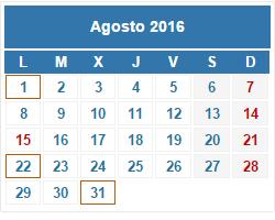 2016 Calendario fiscal agosto