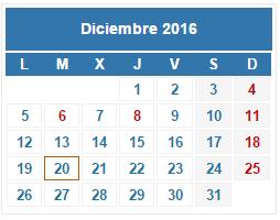 2016 Calendario fiscal Diciembre