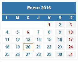 2016 Calendario fiscal Enero