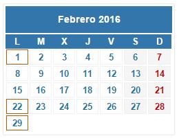 2016 Calendario fiscal Febrero