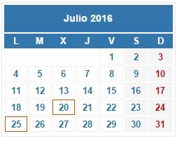 2016 Calendario fiscal Julio