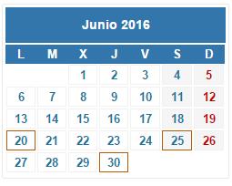 2016 Calendario fiscal Junio