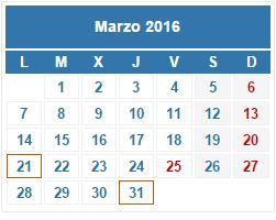 2016 Calendario fiscal Marzo