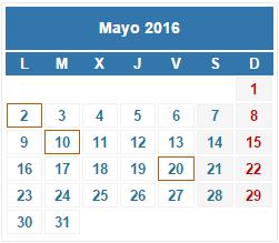2016 Calendario fiscal Mayo