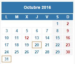 2016 Calendario fiscal Octubre